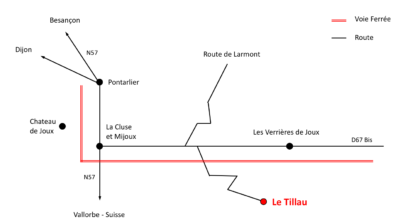 Access map to the hotel restaurant Le Tillau